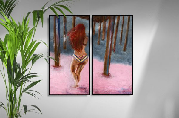 A woman runs in pink sand towards the ocean shoreline underneath a pier, her long red hair and vintage-striped, bikini-clad bottom centrally featured.