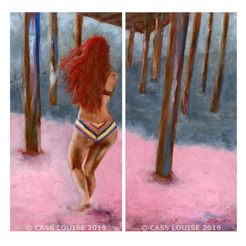 Red haired white woman in bikini holds a pose in profile against a pier post on the beach as a wave approaches and Cass Louise, the photographer, pauses to rework plan with the team