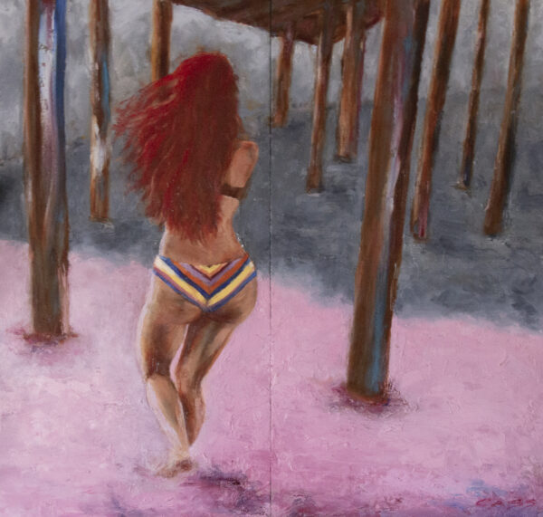 Painting of a woman running in pink sand towards the ocean shoreline underneath a pier, long red hair and vintage-striped, bikini-clad bottom centrally featured.