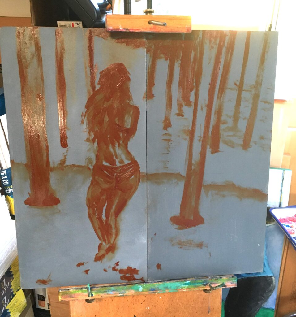 Iron red oxide painted sketch of back of bikini clad woman under pier on two grey primed masonite panels